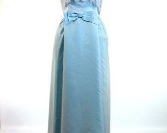 60s Light Blue Lace and Satin Party Dress - Slim Gown - sm