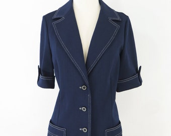 70s Navy Blue Short Sleeve Topstitched Knit Jacket - med, lg