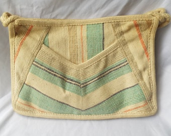 Vintage 1970's Woven Cotton and Rope Purse
