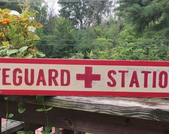LIFEGUARD STATION retro hand painted distressed red and white beach coastal sign