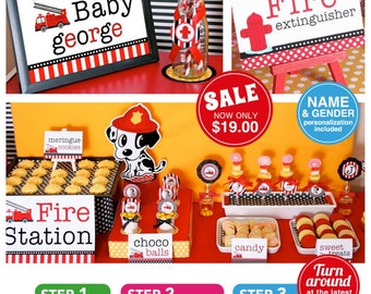 Dalmatian Firefighter Baby Shower Package Personalized FULL Collection Set - PRINTABLE DIY - BS814CA1x