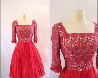 Mid century PINK party dress, 1950s party dress