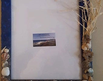 BOGO SALE!! 11x14 Stormy Beach Day Wall Hanging Frames; Made To Order, Custom Made, with Hand Collected Sand, Shells, Fake Sea Oats
