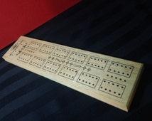 Vintage 70s Milton Bradley E.S. Lowe Wooden Cribbage Board #1503