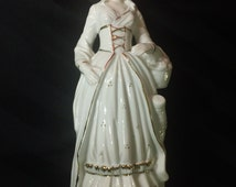 Vintage White Ceramic Colonial Woman with Hand Painted Accents Figurine~ Mid Century Home Decor