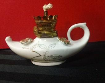 Vintage Porcelain Aladdin-style Hurricane Oil Lamp with Gold Leaf & Flower design