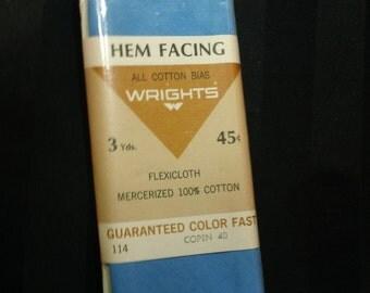 Vintage Wrights All Cotton Bias Hem Facing ~ 40 Copen ~ 3 Yds