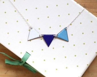 Colourful Bunting Necklace in Blue and White - geometric flag pendant - triangular bunting flags - gift for girls - enamel necklace