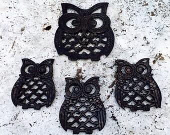 Set of Four Vintage Owl Trivets||Halloween Decor||Kitsch||Falconry