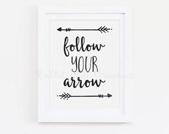 Follow Your Arrow Print, Tribal Print, Nursery, Digital Print, INSTANT DOWNLOAD
