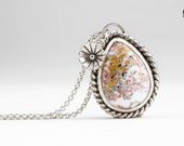 Ocean Jasper gemstone necklace in Sterling Silver with twisted border and flower - White, gold, and pink flower necklace - nature, floral