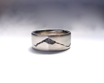Summit Mountain Range Ring, 8mm band, Rock Inlay Mountain Band, Handmade in Recycled Precious Metals, Mountain Wedding Band