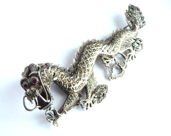 Large Sterling Silver Chinese Dragon Brooch Pin with Marcasites and Garnet Eyes Chinese Export Jewelry