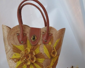 Vintage Hand Made Woven Bucket Purse.
