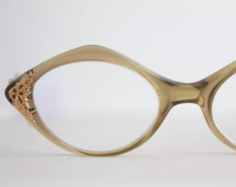 Vintage 50's Angular Gold Overlay Cat Eyeglasses - See Details