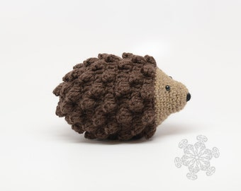 Brown Hedgehog Stuffed Animal, Hand Crocheted Hedgie, Simple Toy