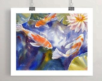Koi Fish Art, Koi Pond Watercolor Print Wall Decor by Janet Zeh Original Art