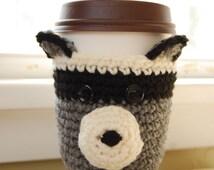 Raccoon Coffee Cozy, Crocheted Coffee Cup Cozy, Crochet Raccoon Cozy, Raccoon Cup Cozies, Crochet Raccoon for Cup, Crocheted Animal Cozies