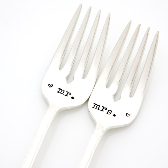 Table Setting: Mr and Mrs wedding forks. Hand stamped silverware for engagement gift. By Milk & Honey