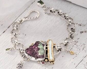 Ruby Zosite, Stone Bracelet, Ruby and Pearl, Raw Stone Jewelry, Ruby Bracelet, Fine Silver Bracelet, Fine gold jewelry, Metalsmith Jewelry