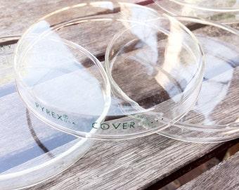 Vintage Petri Dishes, Set of 11 Bottoms, Pyrex Glass plus 1 Small Dish, Repurpose