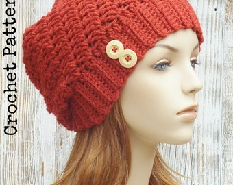 CROCHET HAT PATTERN Instant Download Pdf - Blaire Slouchy Beanie Hat Womens - Permission to Sell English Only