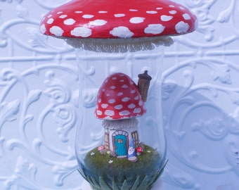 Large mushroom terrarium- Red Mushroom house with cute garden gnome - Great Christmas gift
