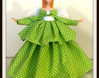 Polka Dot Dressed, Angel Tree Topper, Handmade Gift Angel, OOAK Handcrafted Porcelain Treetopper