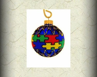 Autism Awareness ornament; puzzle pieces, beaded Christmas ornament cover