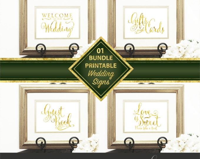 Wedding Signs Bundle 01, Welcome to our Wedding, Gift & Card, Guest Book, Love is Sweet, Gold Script, Downloadable, Print it yourself.