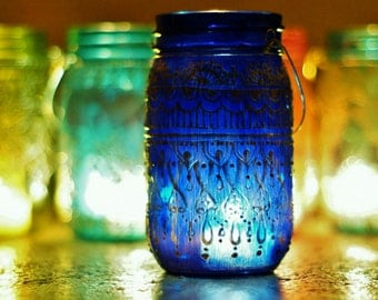 Summer Outdoor Decor, Hanging Mason Jar Lantern, Cobalt Blue Glass with Gold Detailing,Bohemian Candle Holder