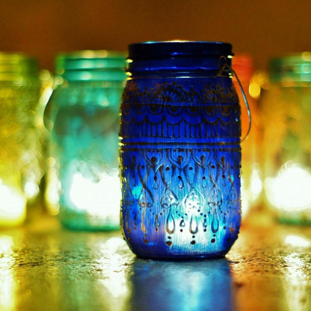 Summer Outdoor Decor Hanging Mason Jar Lantern Cobalt Blue