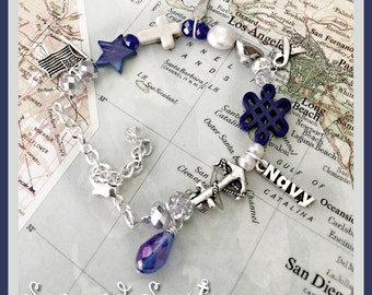 US Navy prayer beads charm bracelet by Son and Sea free US shipping