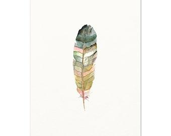 Watercolor Feather Art Print. Soft Colored Feather Wall Art. Minimalist Feather Painting. Modern Nursery Art. Woodland Art. Zen Wall Art.