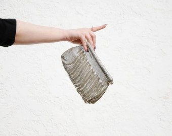 Silver mesh purse, Whiting and Davis metallic clutch, formal evening 1950s