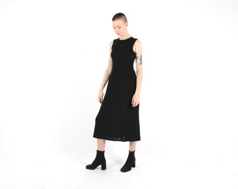 SALE - 90s STAPLE MINIMAL Slinky Knit Black High Neck Maxi Party Grunge  Dress