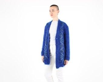 80s MOHAIR + Wool + Leather AUSTRALIANA GUMNUT Fluffy Slouchy Oversized Free Size Electric Blue Cardigan