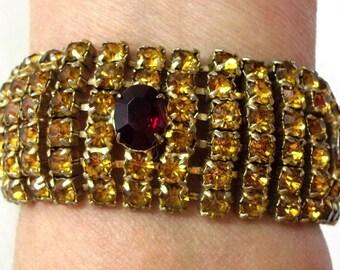Golden Topaz Ruby Red Rhinestone Bracelet Chunky Wide Rhinestone Bracelet Statement Bracelet Fall Autumn Bracelet DD 386