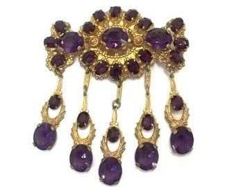 Stunning Purple Amethyst Glass Stone Gold Gilt Filigree Dangle Brooch Statement Brooch Wedding Bridal Sash Brooch February Birthday DD 1008