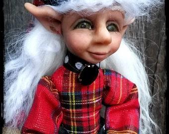 """SALE- Art Doll Elf Christmas Decor - """"Ainslee"""""""