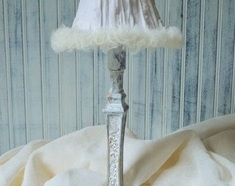 Table lamp Candlestick small Off white Rag ribbon shade with Tulle Ruffles French farmhouse Shabby cottage chic Upcyclesisters