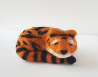 Needle Felted Tiger with Floral Embroidered Rug