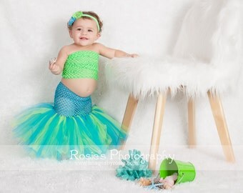 Ready To Ship - Tropical Mermaid Princess Fishtail Tutu Set - Little Baby Girl Size Newborn 3 6 9 12 Months - Halloween Costume Party Outfit