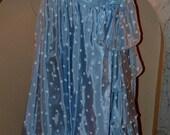 1980s Blue and White Polka Dot Prom Dress
