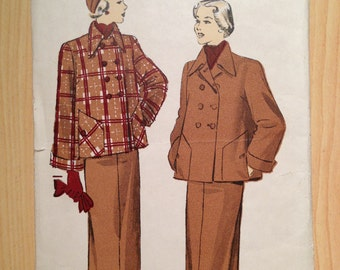 Vintage 40s Advance Sewing Pattern 4961 Misses Jacket and Skirt Size 16