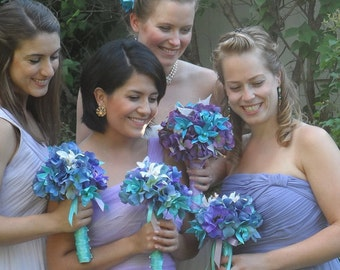 Orchid Wedding Bouquet - Blue and Purple Bridal Bouquet, Boutonniere- Customized To Your Wedding Colors- SOLD