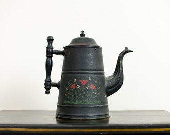 Antique Tole / Toleware Coffee Pot  Teapot Hand Painted Flowers