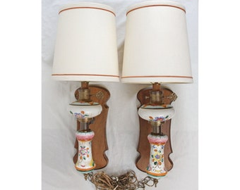 Edwards Hand Painted Floral Pottery Wall Sconces Lamps Pair Wood Brass Drum Shades