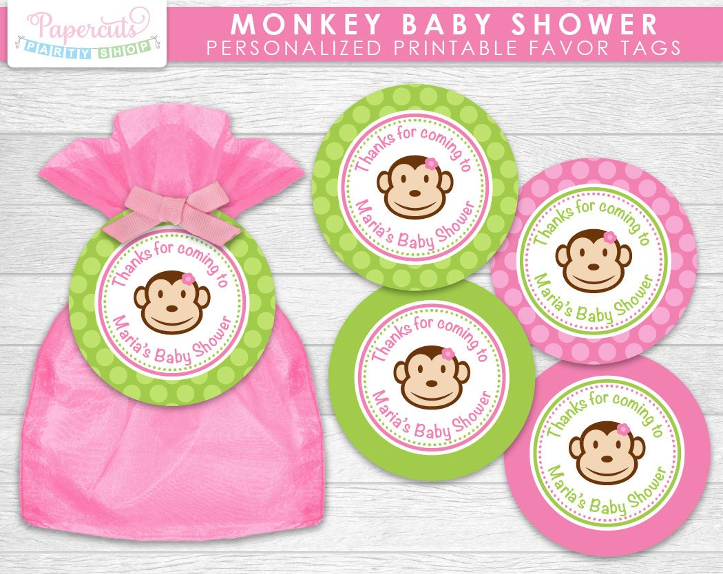 monkey girl theme baby shower favor tags pink green