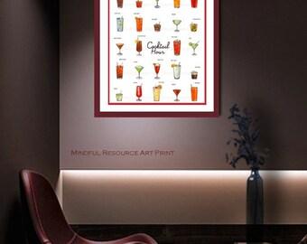 Retro Cocktails Art Poster Mid Century Art Drinks Photograph Bar Menu RED or GRAY Border Poster Beverage Art -Restaurant, Bar, Party Decor